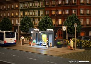 Vollmer 45154 NEW OO (1:76) / HO (1:87) Bus stop with LED lighting kit