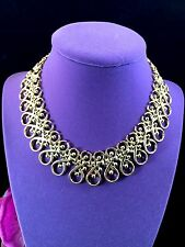 EXQUISITE EARLY 1950'S CROWN TRIFARI GOLD-TONE EGYPTIAN REVIVAL COLLAR NECKLACE