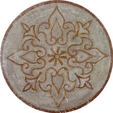 Lines Vines Motif Floor Medallion Marble Mosaic MD989