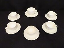 12pc Villeroy & Boch All White CORTINA 2000 Embossed Flat Cup & Saucer Set
