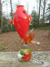 "Antique Vintage Murano Glass Puffer Fish Vase flowers orange white Italy 9.75"""