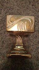 Vintage hand painted 22 Karat GOLD plated dish (vase)