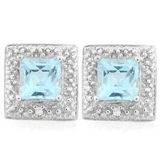 Ohrringe/Ohrstecker Cary, 925er Silber, 1,6 Kt. echter Blautopas/Diamant