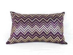 Pier 1 Imports Purple Satin Rectangular Accent Pillow W/ Gold-Toned Sequins Boho