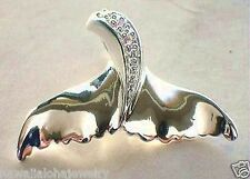 25mm Sterling Silver Hawaiian Humpback Whale Tail Flukes Pink CZ Pendant #2