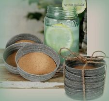 Set of 4 - Primitive Farmhouse Mason Jar Lid Coasters