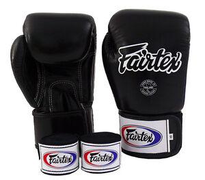 NEW Fairtex BGV1 Muay Thai MMA Training Sparring Boxing Gloves Black & Handwraps