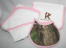 Realtree Camo & Pink 4pc Baby Towel Gift Set, Bib Burp Rag