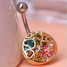 Crystal Navel Ring Belly Button Ring Gold Hollow Heart Piercing Body Jewelry New