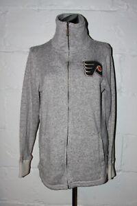 EUC CCM Philadelphia Flyers Gray Fleece Full Zip Womens Jacket Sweatshirt Sz L