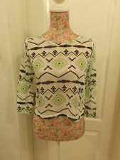 LADIES LIGHTWEIGHT SEE-THROUGH CROPPED TOP WITH TRIBAL PATTERN SIZE 10 PRIMARK