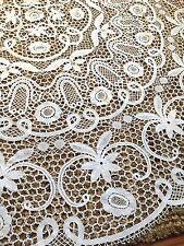 "VTG Lace Crochet Butenburg round Tablecloth 64"" Victorian"