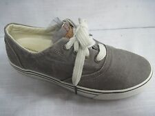 MENS L L BEAN SUNWASHED ATHLETIC CANVAS SNEAKERS, ALL MAN MADE, GRAY/WHITE  7 M