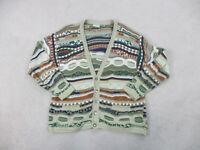 VINTAGE Coogi Sweater Adult Large Brown Green MacGregor Biggie Cardigan Men 90s*