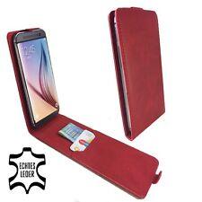 étui de portable Motorola Moto G4/4g Plus Clapet Cuir Véritable L Rouge