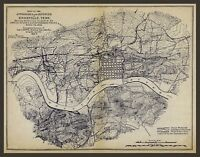 """1863 MAP, Civil War, Knoxville, Tennessee, Military, antique, 24""""x18"""" Print"""