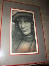 """Vtg. Original Art of Josef M. Kozak Portrait """"Young Woman"""" DRAWING Signed Framed"""