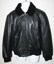ALEXANDER MCQUEEN McQ Black Leather Bomber Jacket Shearling Trim US XXL IT56 NEW