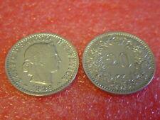 Münzen Schweiz 1926 B Swiss  1 x 20 Rappen 1926  B  sehr schön Coin Svizzera
