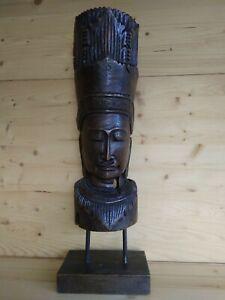BODHISATTVA BUDDHA legno teak su piedestallo scolpito a mano figura sacra