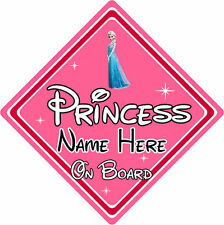 Personalised Disney Princess On Board Car Sign - Baby On Board Elsa From Frozen