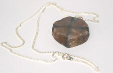 "Chiastolite Cross Crystal Pendant with 18"" Silver Chain"