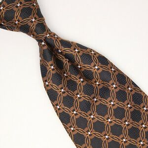 Robert Talbott Mens Silk Necktie Black Bronze Brown White Geometic Weave Tie