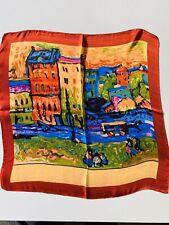 Oil Painting Print On Silk 100% Silk Scarf — Red Rim