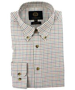 Viyella Cotton Plum Tattersall Classic Fit Shirt with Button Down Collar
