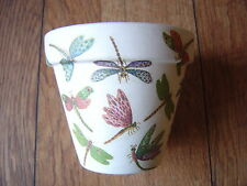 Hand Painted + Decoupaged Flower Pots 11 cm ( Terracotta ) Dragon Flies 2
