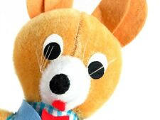 """Vintage Mouse Plush Stuffed Animal 11"""" Mid Century Fair Toy 60s Felt Plaid Blue"""