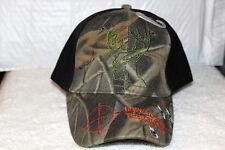 DEER HUNTING BORN TO PULL THE TRIGGER BULET HOLE BASEBALL CAP HAT BLACK & CAMO