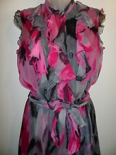 Trina Turk 2 100% Silk Dress Empire Waist Ruffle Magenta Pink Black Gray Party
