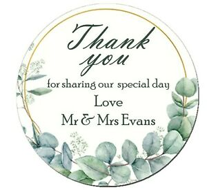 Personalised Wedding Shabby Eucalyptus Effect Favour Stickers Hearts x 35