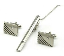 Silver Diamond Cufflinks Tie Clip Formal Business Wedding Gift for Suit Shirt