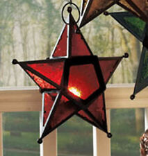 """Red Hanging Star Candle Holder - 10"""" x 10"""" x 3"""" - Glass and Metal"""