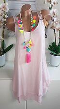 Kleid Sommer Häkel Spitze Ibiza Lagenlook Strand Hippie süß rosa 36 38 neu _