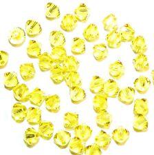 SCB3115fb Citrine Yellow 4mm Xilion (5328) Bicone Swarovski Crystal Beads 48pc