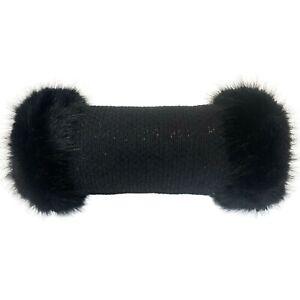 Linton Tweed Black Sparkle Luxury Faux Fur Trimmed Hand Muff Warmer Gloves