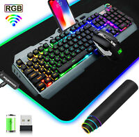 Wireless Gaming Keyboard And Mouse Set Rainbow RGB Backlit Rechargeable 4800mAh