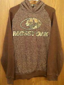 Men's Hoodie Mossy Oak  Size  L  Brown  Camo Inner Hood  Fleece Lined
