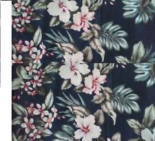 "Tropical Hawaiian Fabric large Print Flowers remnant 23"" x 25"" home decor"