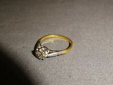 Attractive Vintage 18ct Yellow Gold Diamond Ring - Size L - 2.44g