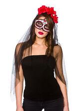 Adulti Da Donna Messicana Giorno Dei Morti SENORITA Costume Maschera & Velo Accessorio