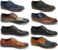 MENS REAL LEATHER ITALIAN DRESS CASUAL FORMAL OFFICE BROGUE SHOES UK SIZE 7 8 9