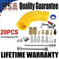 20PCS 25Ft Air Compressor Accessory Set Tool Recoil Hose Gun Nozzles Tool Set US