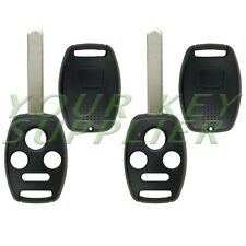 2 New Replacement 4 Button Remote Key Shells Civic Accord Without Chip Holder