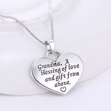 "Silver ""Grandma"" Reversible Heart Pendant Necklace 18"" Mum Mother Mom's Day Gift"