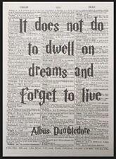 Albus Dumbledore frase Harry Potter VINTAGE Diccionario Estampado Imagen Arte