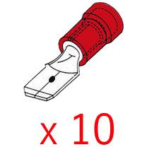 10 Cosses Mâle 2,8 MM Couleur Rouge pour Câble de 0.5 à 1 mm²